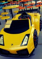Immobile Yellow Car