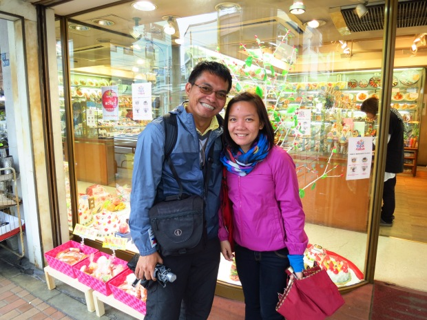 posing outside one of the Sample shops at  Kappabashi