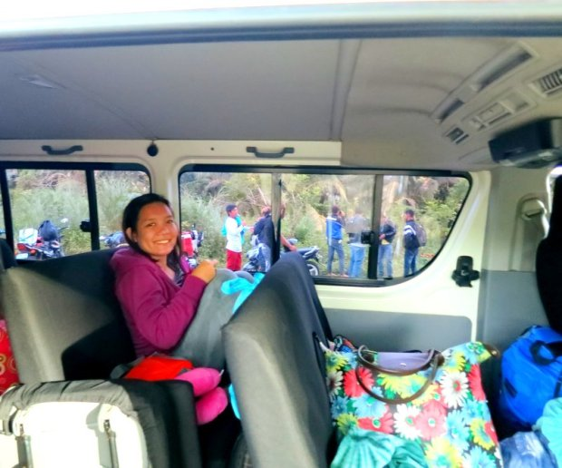 inside the van, in transit to Baler
