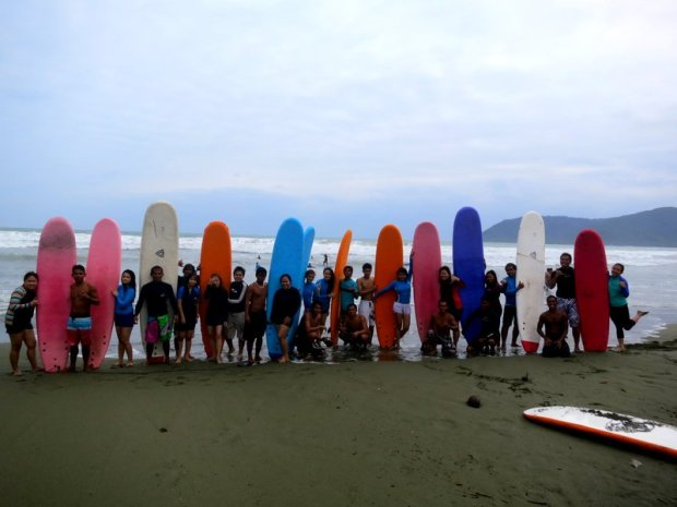 our group with our surfing instructors